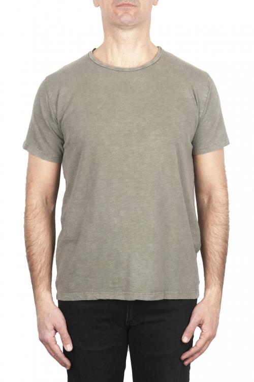 SBU 03070_2020AW T-shirt girocollo aperto in cotone fiammato verde oliva 01