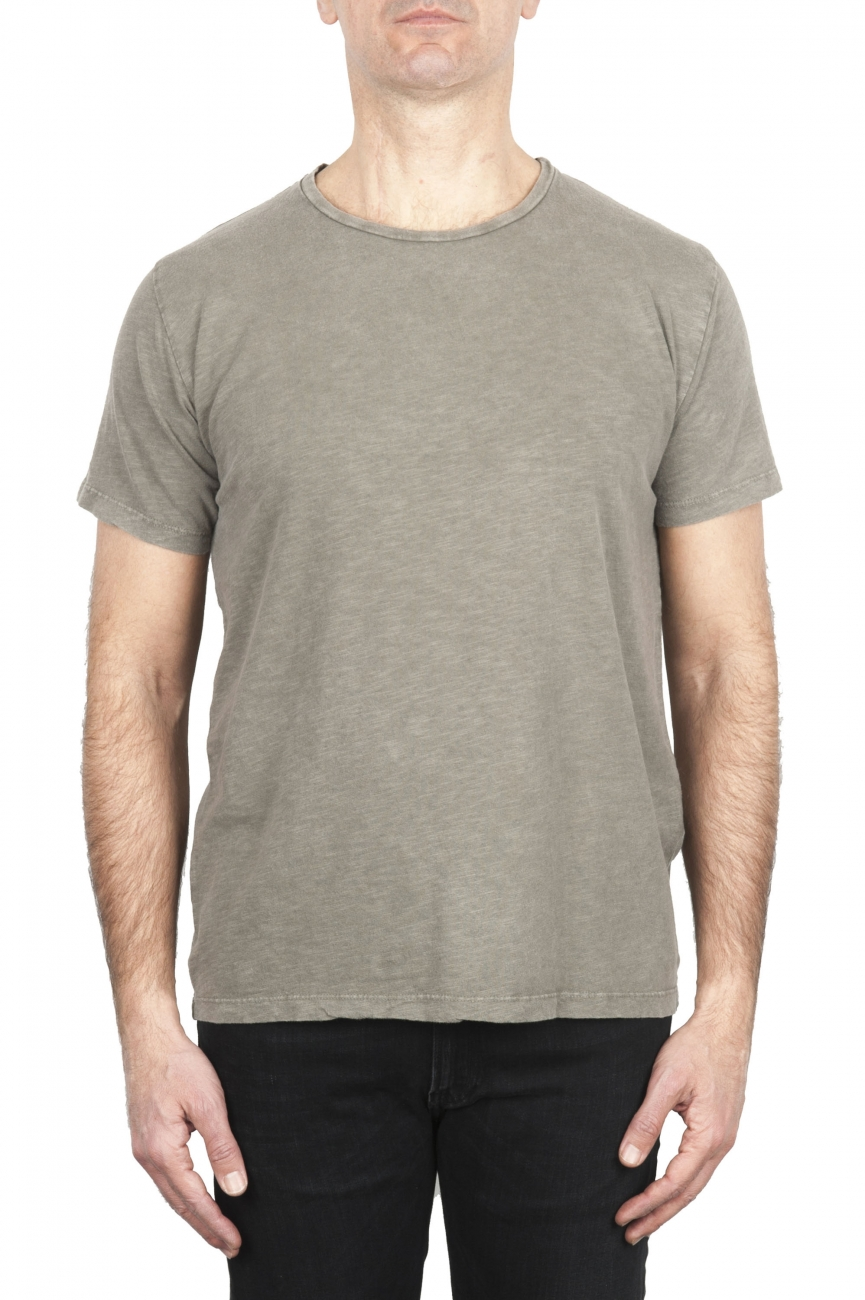 SBU 03070_2020AW Flamed cotton scoop neck t-shirt olive green 01