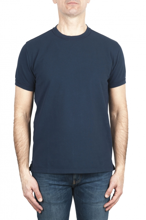 SBU 03074_2020AW Cotton pique classic t-shirt navy blue 01