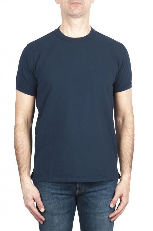 SBU 03074_2020AW T-shirt classique en coton piqué bleu marine 01