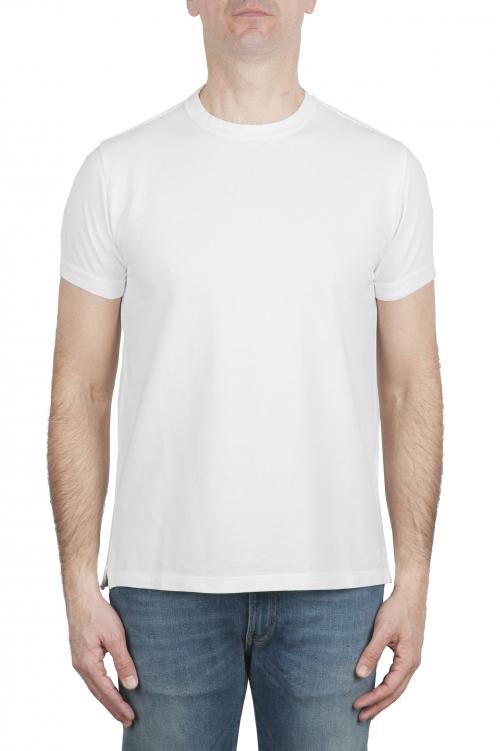 SBU 03075_2020AW T-shirt girocollo in cotone piqué bianca 01