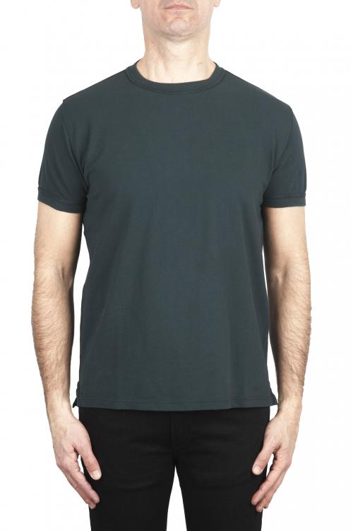 SBU 03076_2020AW T-shirt girocollo in cotone piqué verde 01