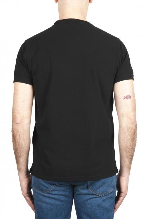 SBU 03077_2020AW T-shirt girocollo in cotone piqué nera 01