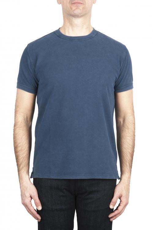 SBU 03078_2020AW T-shirt classique en coton piqué bleu 01