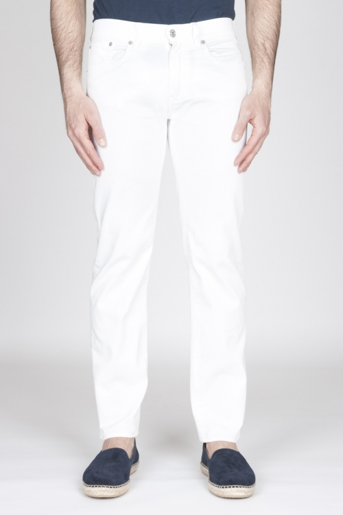SBU - Strategic Business Unit - Jeans In Bull Denim Sovrattinto Elasticizzato Bianco