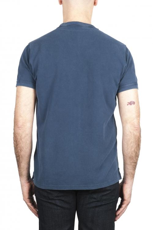 SBU 03078_2020AW T-shirt girocollo in cotone piqué blu 01