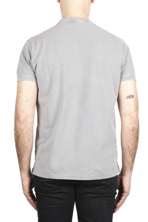 SBU 03079_2020AW T-shirt classique en coton piqué gris 01