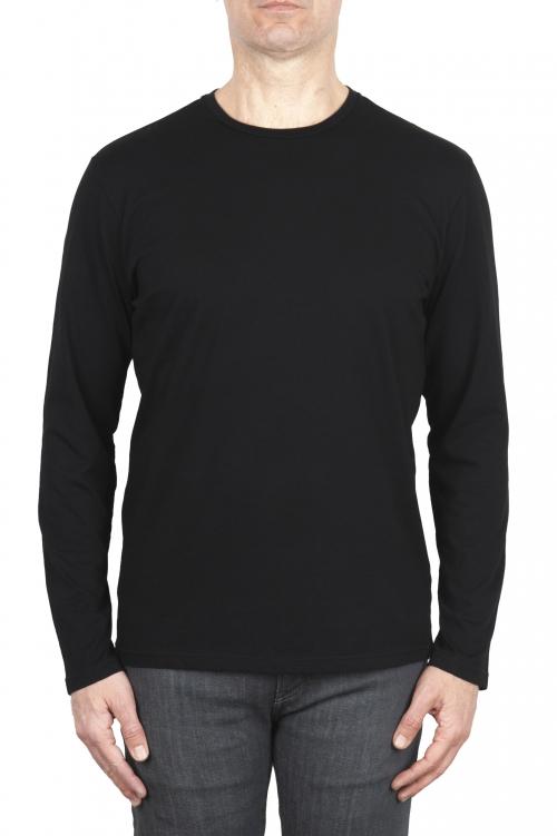 SBU 03083_2020AW Camiseta clasica de manga larga de algodón jersey negro  01
