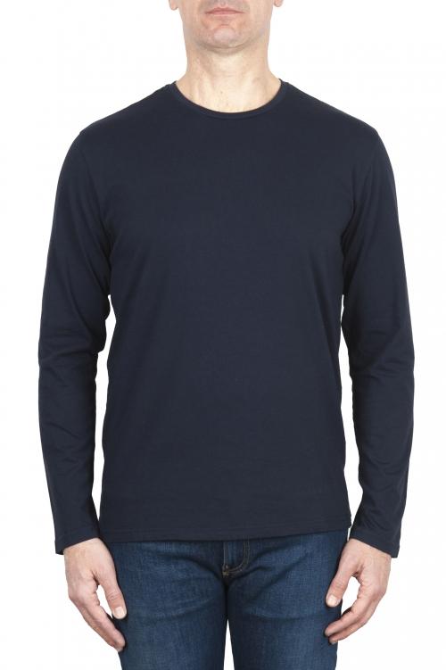 SBU 03084_2020AW T-shirt girocollo a maniche lunghe in cotone blu 01