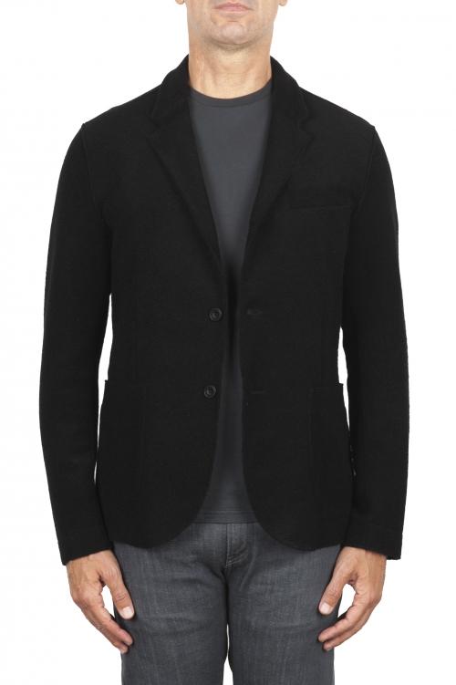 SBU 03087_2020AW Veste de sport noir en laine mélangée non confectionnée et non doublée 01