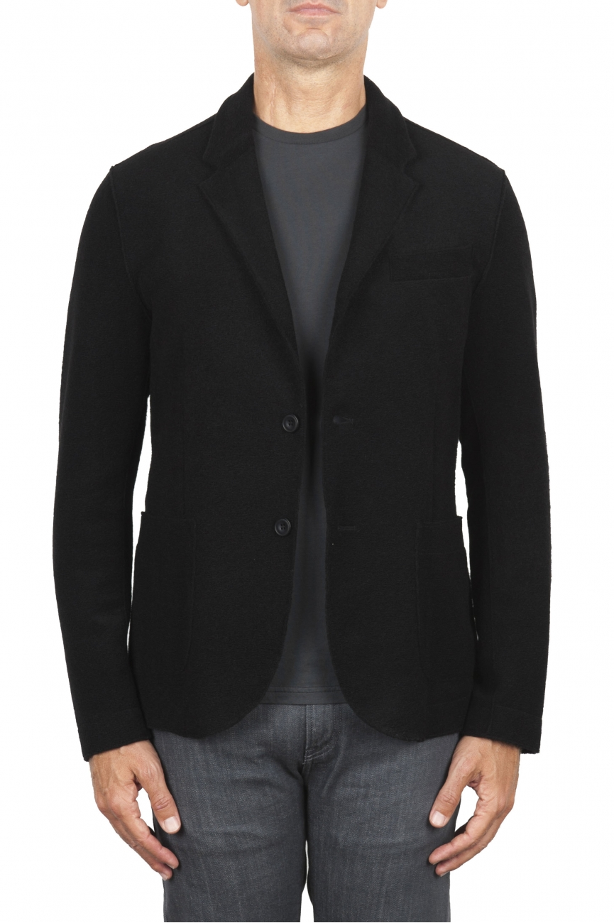 SBU 03087_2020AW Black wool blend sport jacket unconstructed and unlined 01