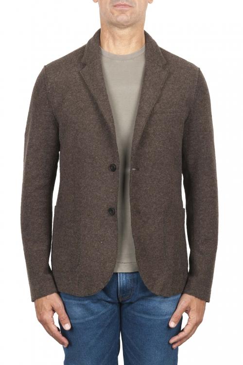 SBU 03089_2020AW Veste de sport marron en laine mélangée non confectionnée et non doublée 01