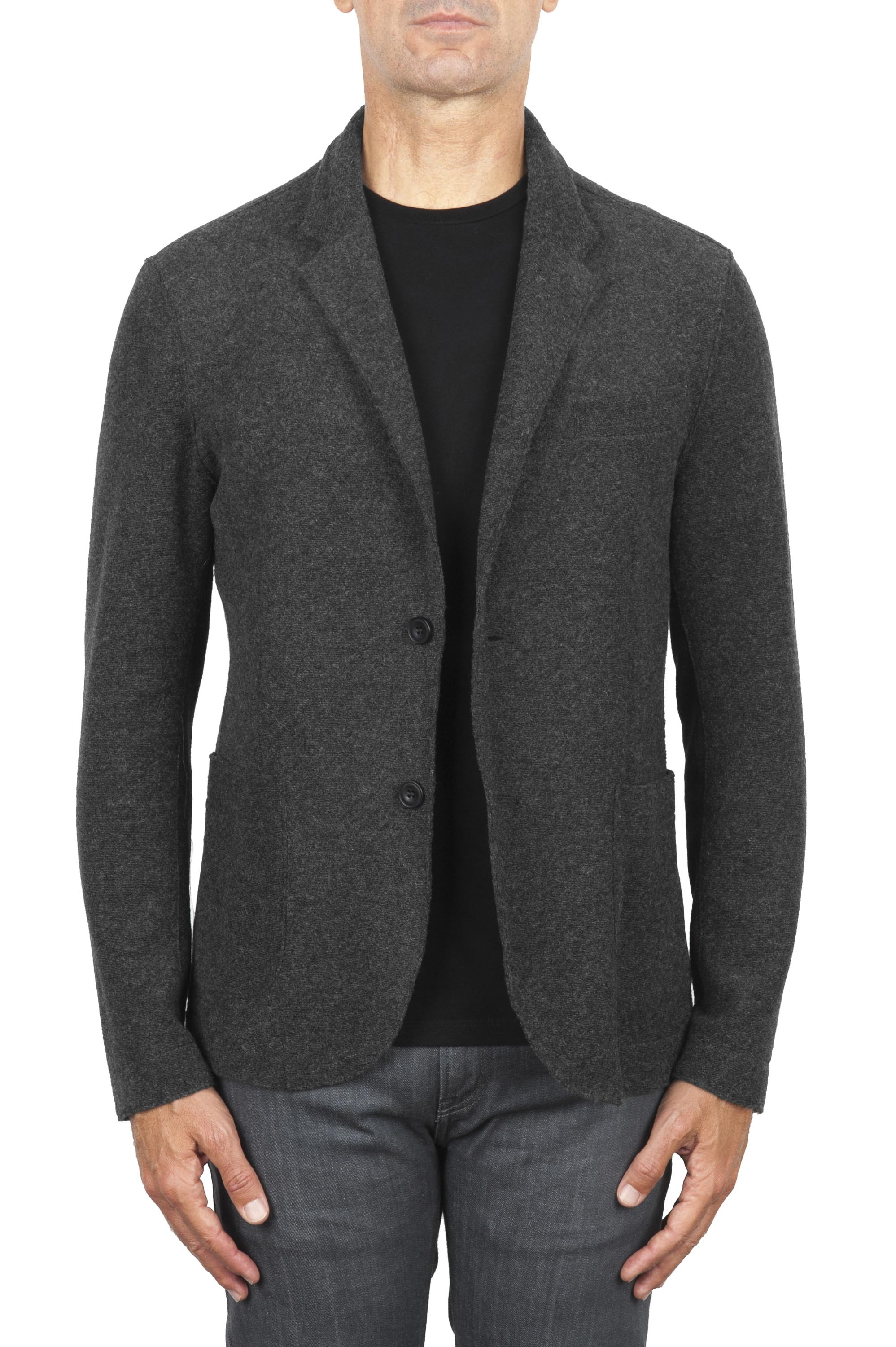 SBU 03091_2020AW Anthracite wool blend sport jacket unconstructed and unlined 01