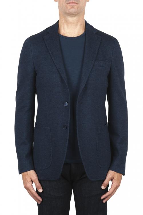SBU 03092_2020AW Blazer bleu en laine et coton déstructurés  et sans doublure 01