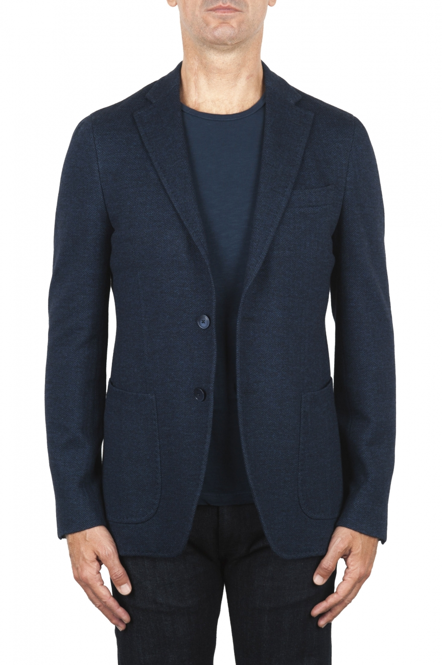 SBU 03092_2020AW Blue wool and cotton blazer unconstructed and unlined 01