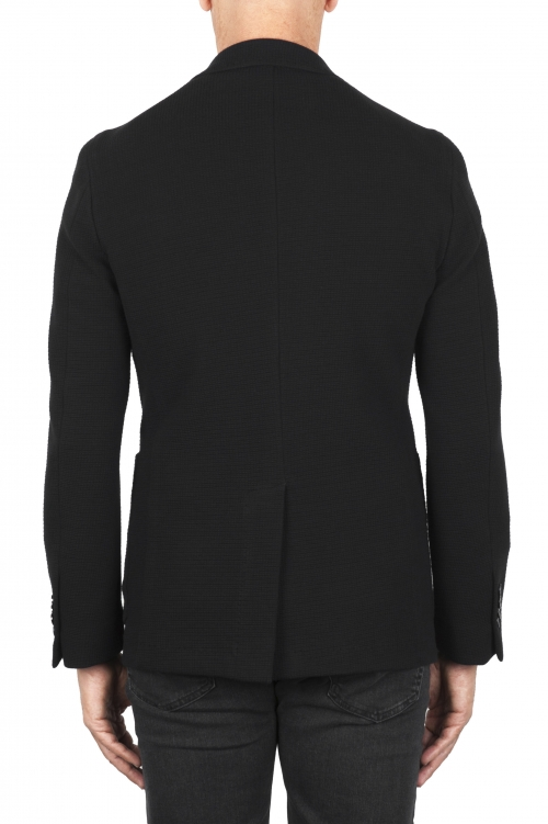 SBU 03096_2020AW Black stretch cotton sport blazer unconstructed and unlined 01