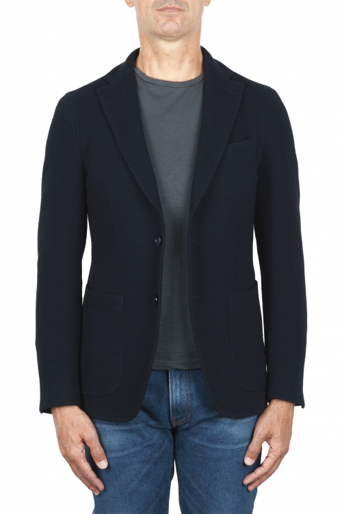 SBU 03097_2020AW Navy blue stretch cotton sport blazer unconstructed and unlined 01