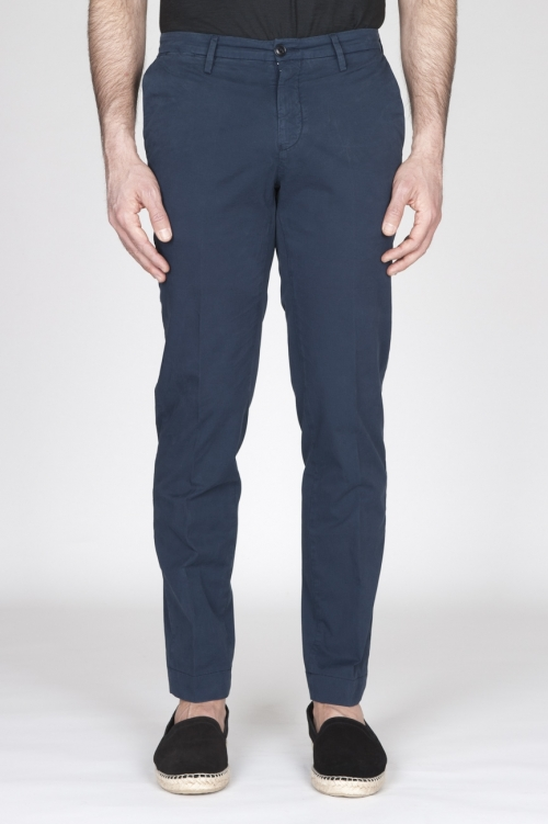 Pantaloni Chino Regular Fit Classici In Cotone Stretch Navy Blue