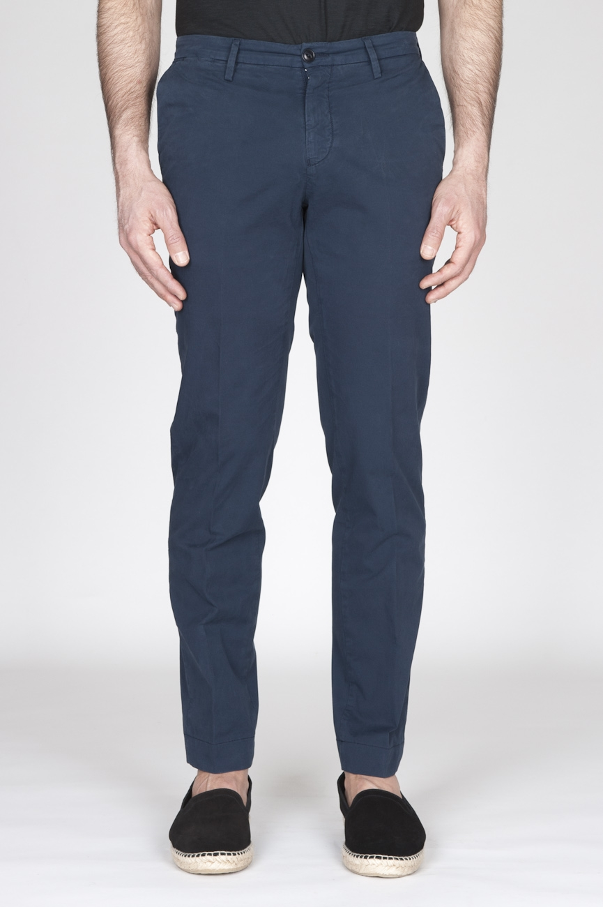 SBU - Strategic Business Unit - Classic Regular Fit Chino Pants In Navy Blue Stretch Cotton