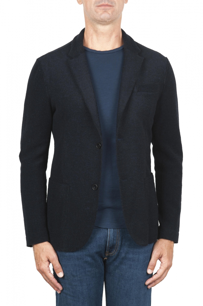 SBU 03100_2020AW Black wool blend sport jacket unconstructed and unlined 01