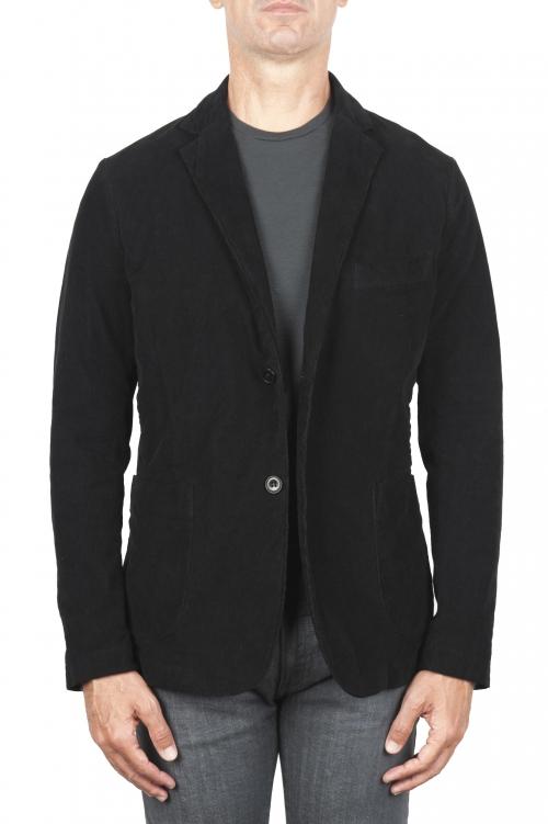 SBU 03102_2020AW Blazer de sport noir en coton stretch non structuré ni doublé 01