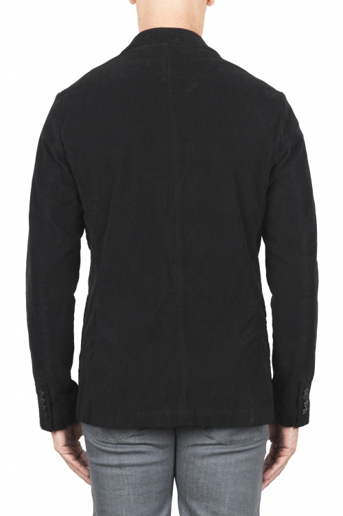 SBU 03102_2020AW Black stretch cotton sport blazer unconstructed and unlined 01