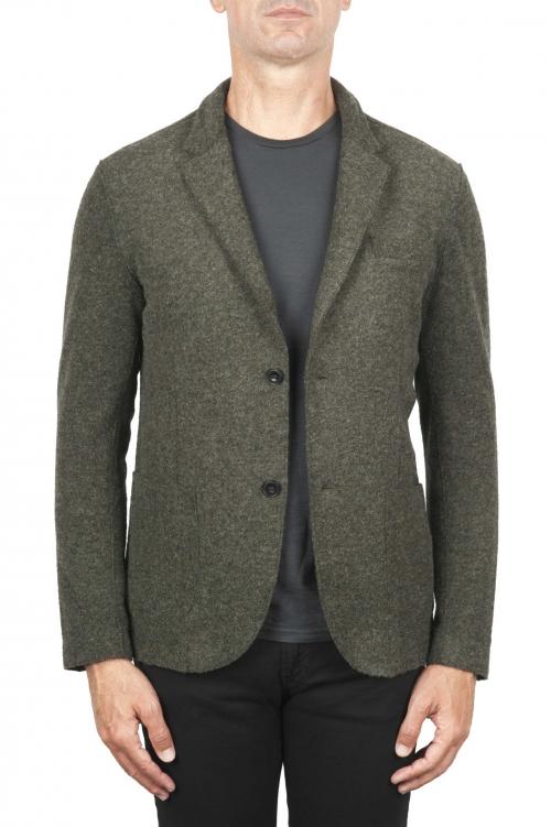 SBU 03105_2020AW Chaqueta deportiva verde en mezcla de lana desestructurada y sin forro 01