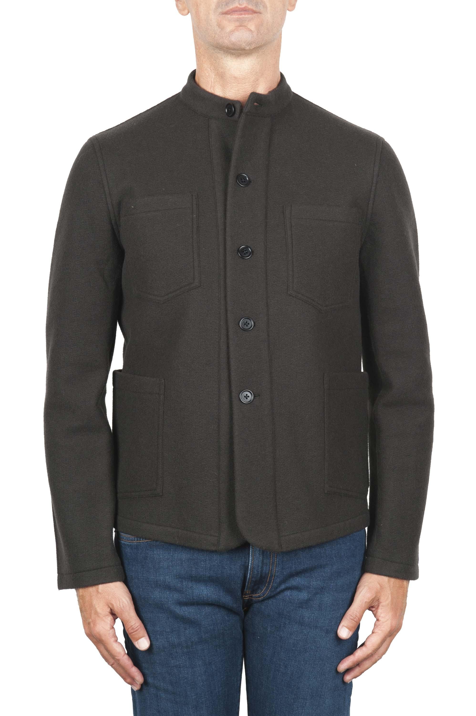 SBU 03108_2020AW Brown mandarin collar sartorial work jacket 01