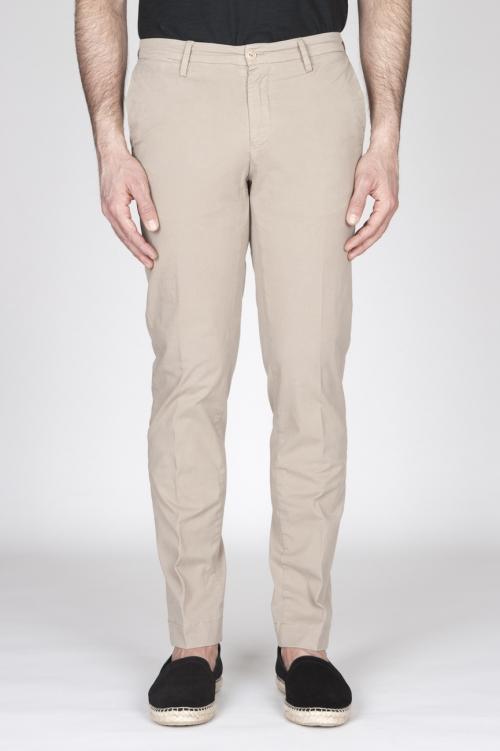 Pantaloni Chino Regular Fit Classici In Cotone Stretch Beige