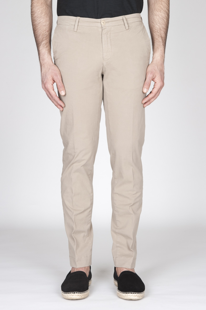 Pantaloni Chino Regular Fit Classici In Cotone Stretch Beige