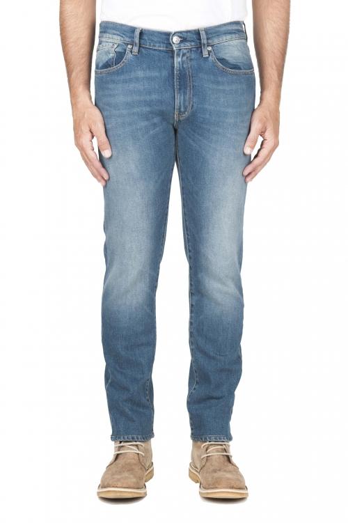 SBU 03112_2020AW Teint pur indigo délavé coton stretch bleu jeans  01