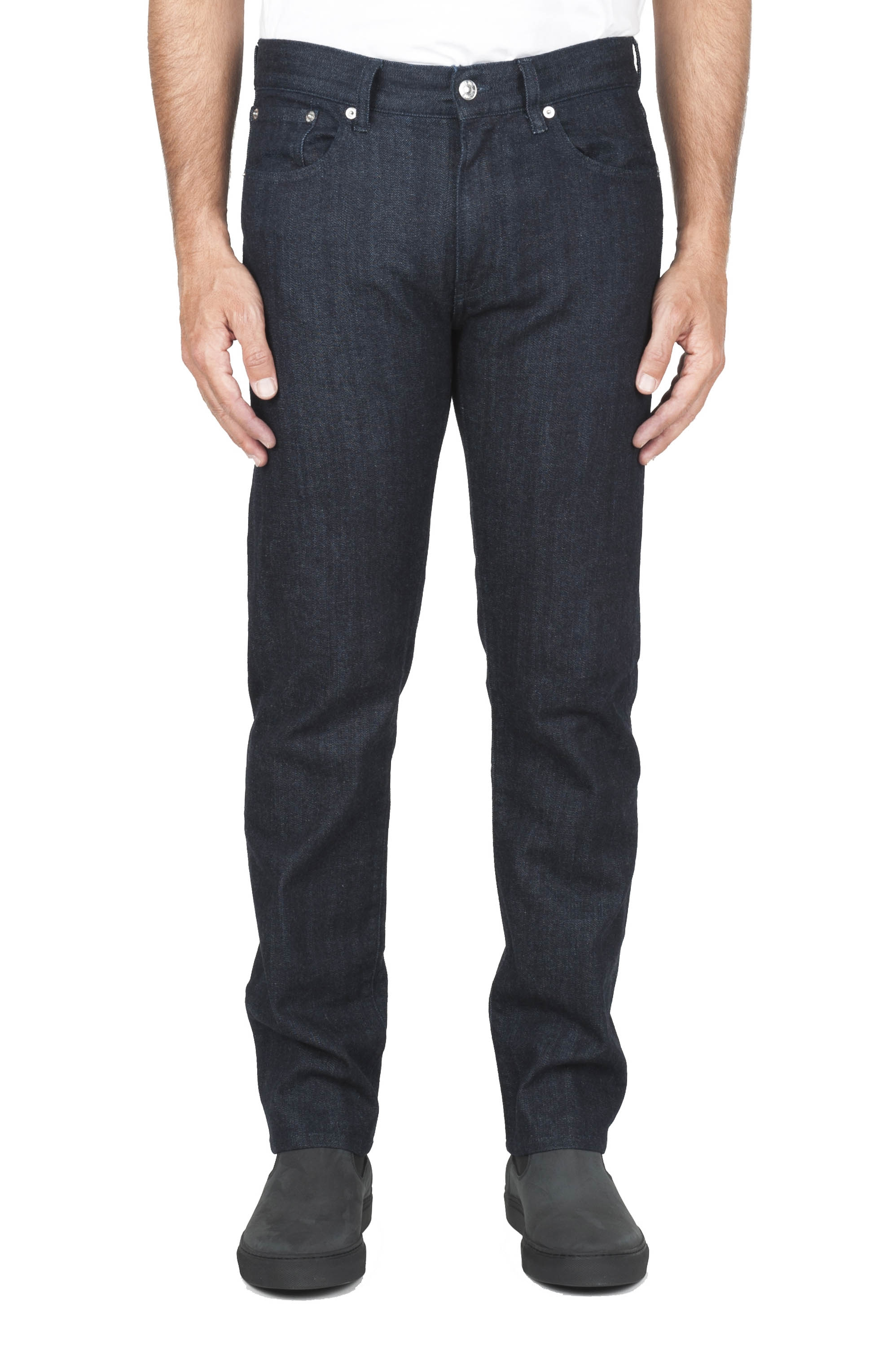 SBU 03113_2020AW Natural indigo dyed washed japanese stretch cotton selvedge denim jeans 01