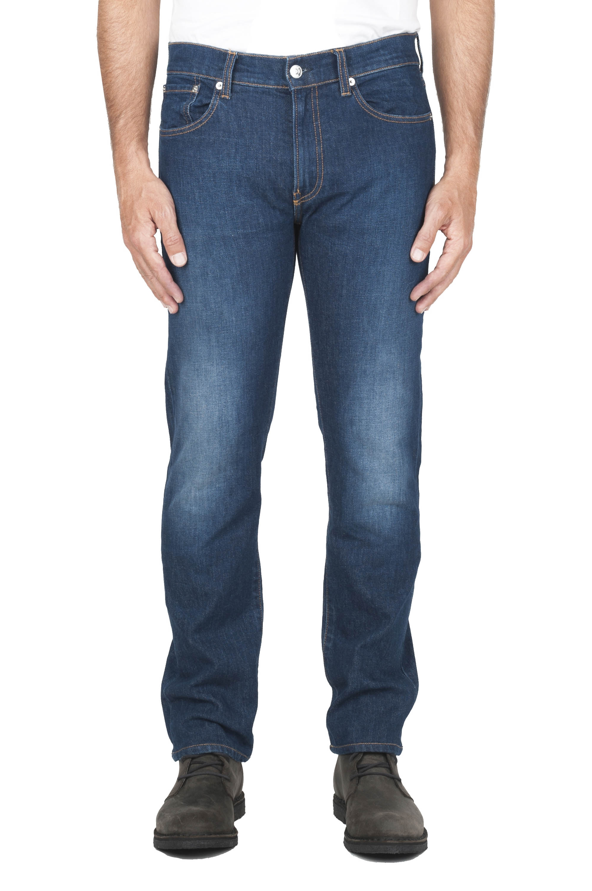 SBU 03114_2020AW Pure indigo dyed used washed stretch cotton blue jeans 01