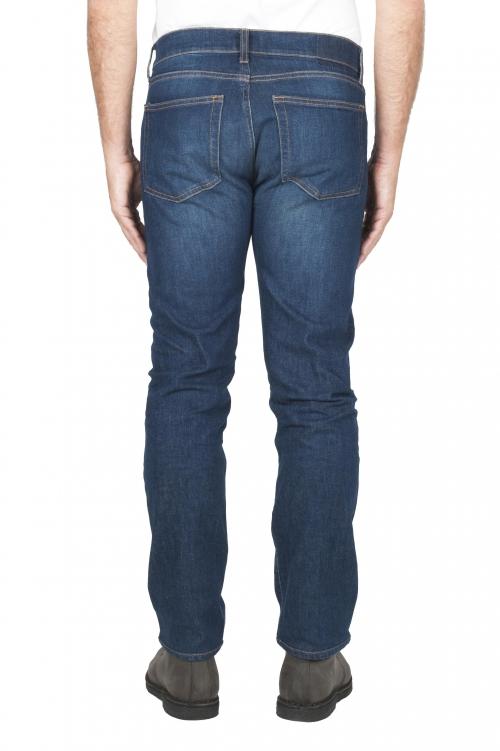 SBU 03114_2020AW Pantalones vaqueros de algodón elástico lavados usados añil puro 01