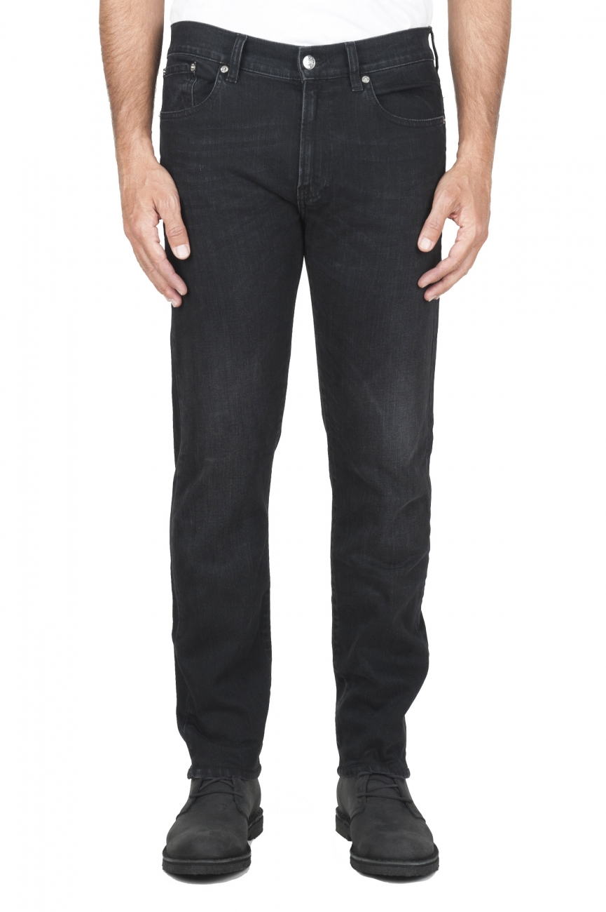 SBU 03115_2020AW Natural ink dyed stone washed black stretch cotton jeans 01