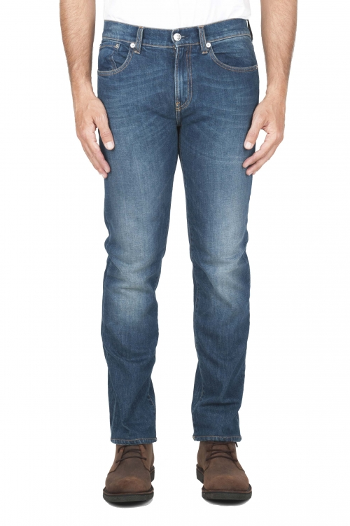 SBU 03116_2020AW Jeans elasticizzato in puro indaco naturale stone washed 01