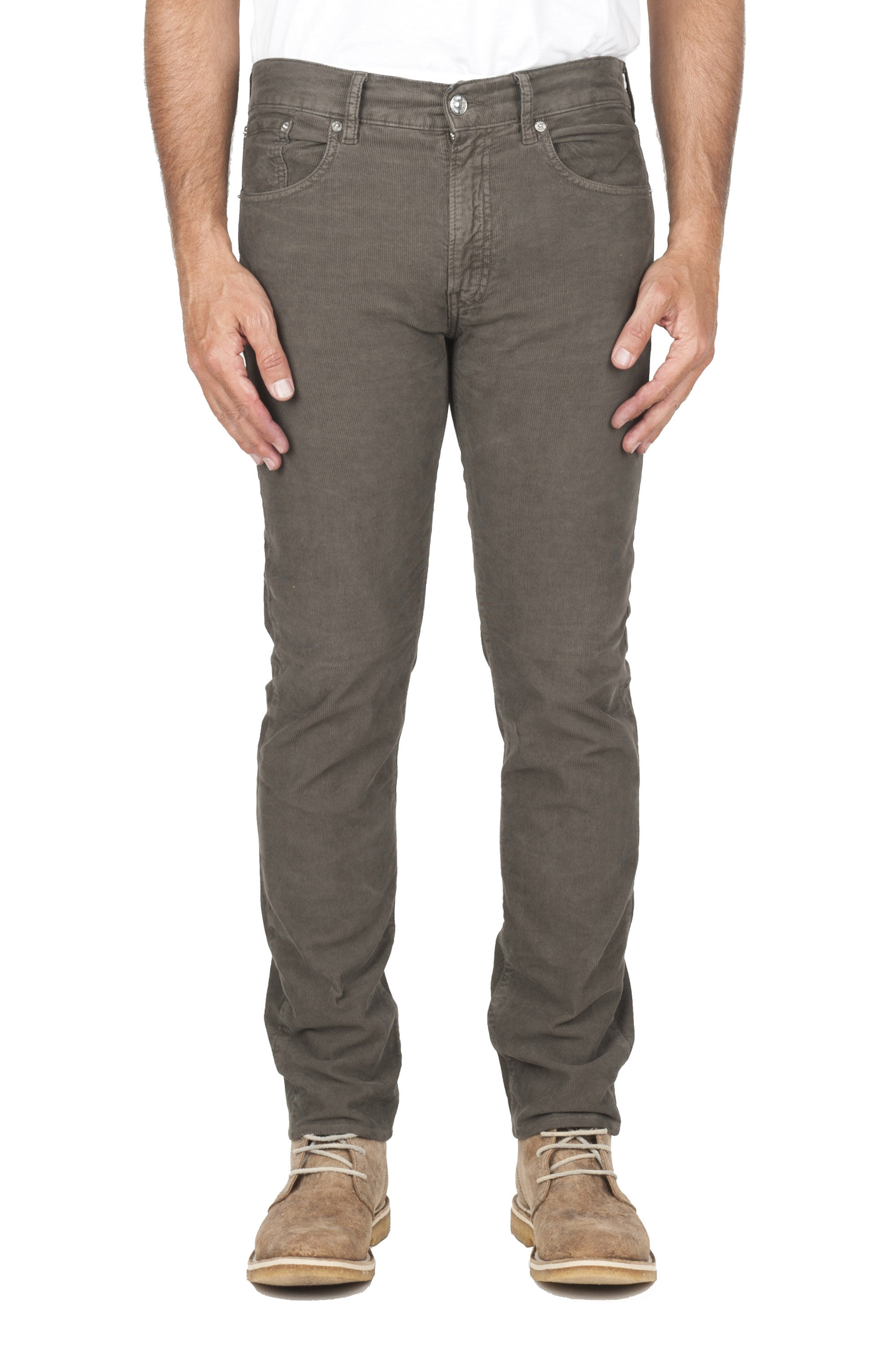 SBU 03118_2020AW Olive overdyed pre-washed stretch ribbed corduroy cotton jeans 01