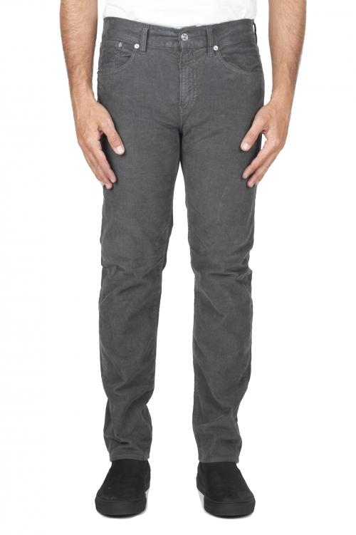 SBU 03119_2020AW Vaqueros de algodón de pana acanalados elásticos pre lavados gris 01