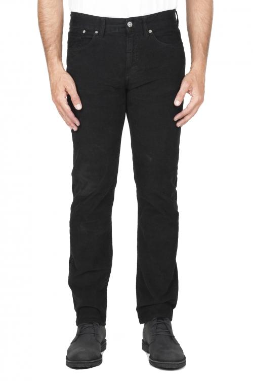 SBU 03120_2020AW Vaqueros de algodón de pana acanalados elásticos pre lavados negro 01