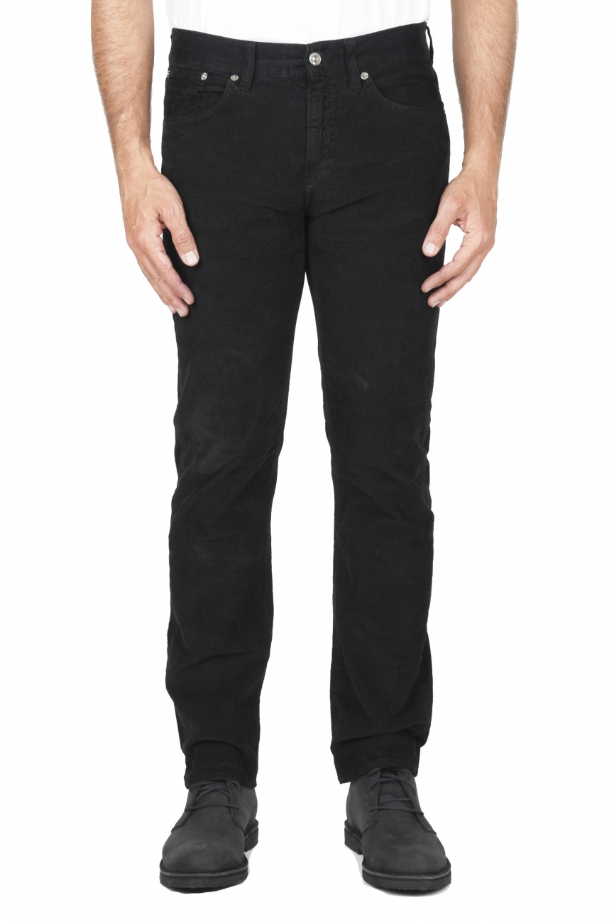 SBU 03120_2020AW Black overdyed pre-washed stretch ribbed corduroy cotton jeans 01