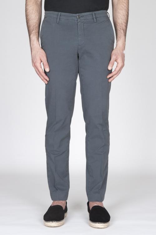 Pantaloni Chino Regular Fit Classici In Cotone Stretch Grigio