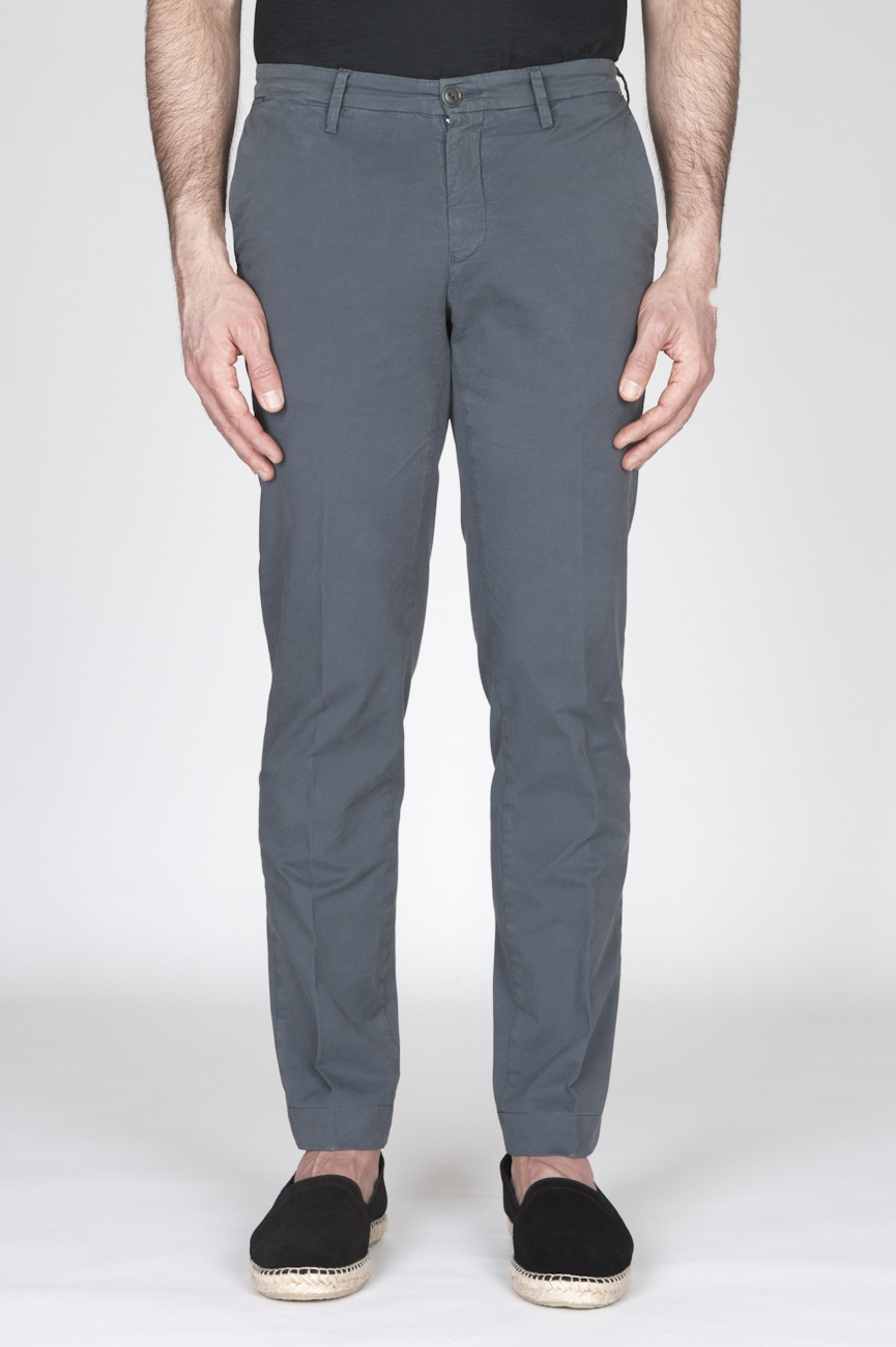 Pantaloni Chino Regular Fit Classici In Cotone Stretch Grigio