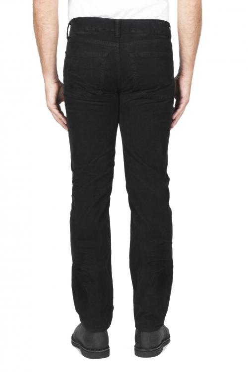 SBU 03120_2020AW Jean en velours de coton côtelé extensible noir délavé sur lavé 01