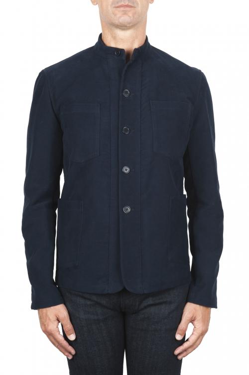 SBU 03145_2020AW Blue mandarin collar sartorial work jacket 01
