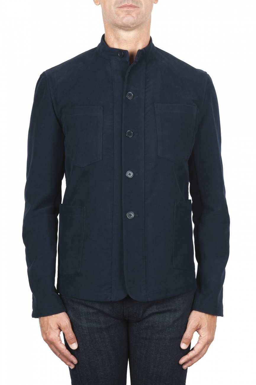 SBU 03145_2020AW Blue mandarin collar sartorial work jacket 01