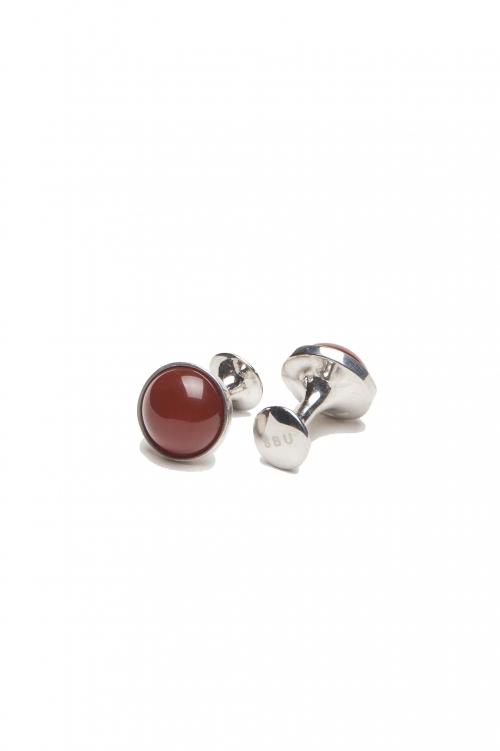 SBU 03122_2020AW Classic silver and carnelian mineral handmade cufflinks 01