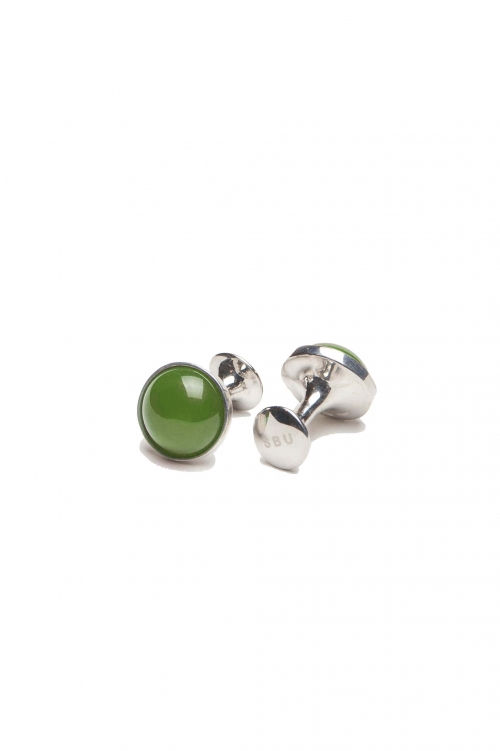 SBU 03123_2020AW Classic silver and jade mineral handmade cufflinks 01