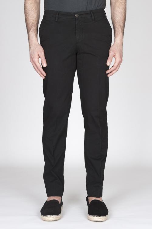 Pantaloni Chino Regular Fit Classici In Cotone Stretch Nero