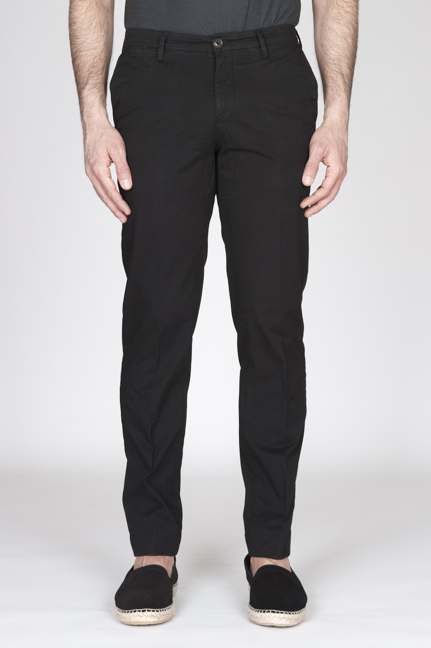 SBU - Strategic Business Unit - Classic Regular Fit Chino Pants In Black Stretch Cotton