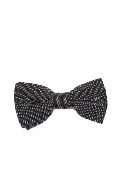 SBU 03131_2020AW Classic ready-tied bow tie in grey silk satin 01